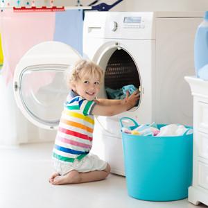 little girl happy laundry